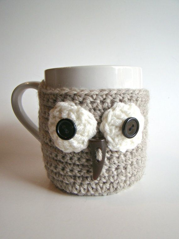 Owl Cup Cozy and coasters Mug Sweater Mug Cozy Cup by HookMadness ...