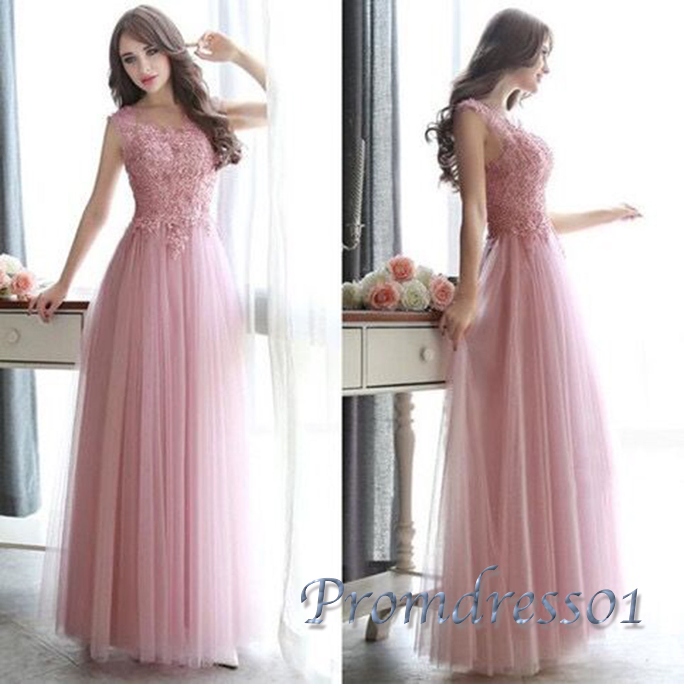Cute pink lace u tulle long prom dress with beautiful top details