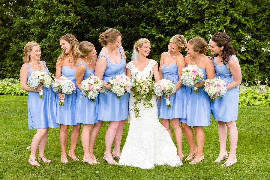 After you do a serious shot with your girls, turn and look at each other and laugh. He Married the Girl Next Door: Katie and Sander's Wedding in Duxbury » Fucci's Photos of Boston | Boston Wedding Photographer