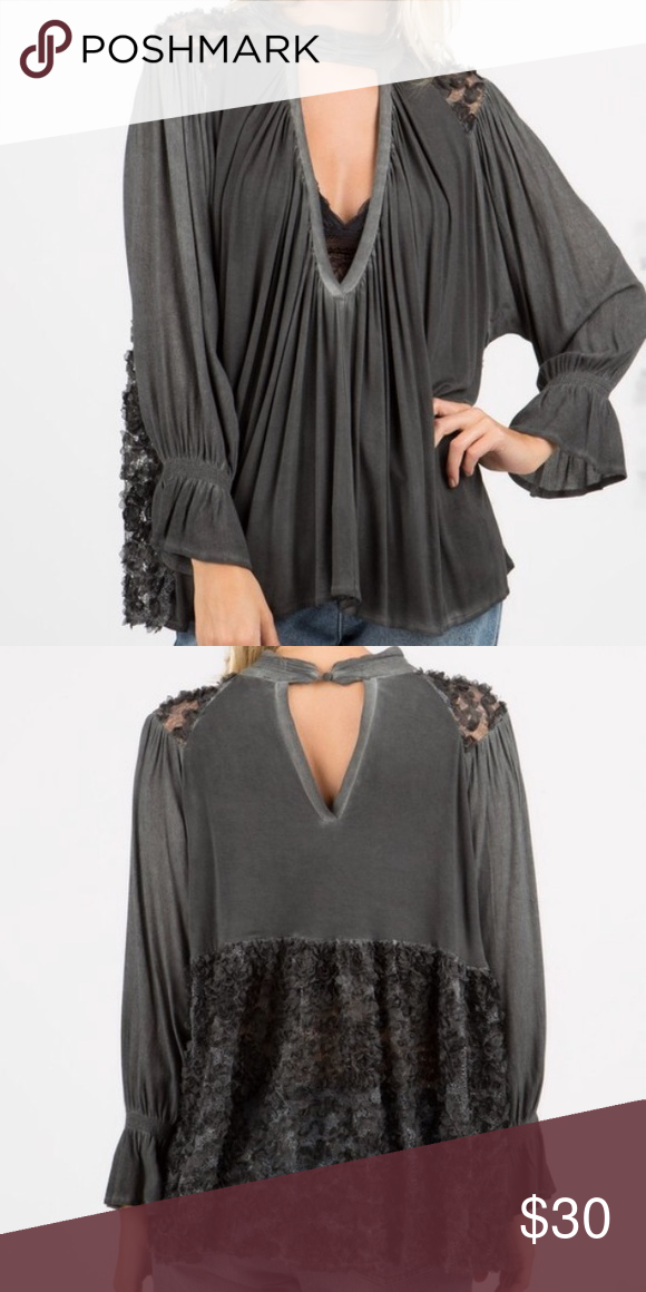 POL Gray Lace Blouse 3/4 sleeves, smocked mock neck with plunging neckline, rayon spandex jersey mix with 3D lace panels POL Tops Blouses