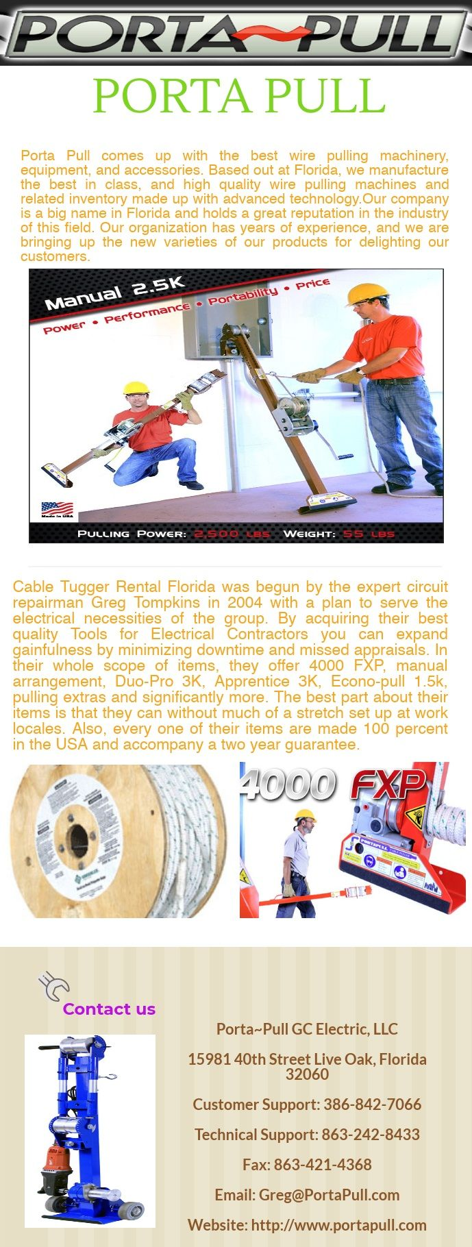 Porta Pull comes up with the best wire pulling machinery, equipment ...