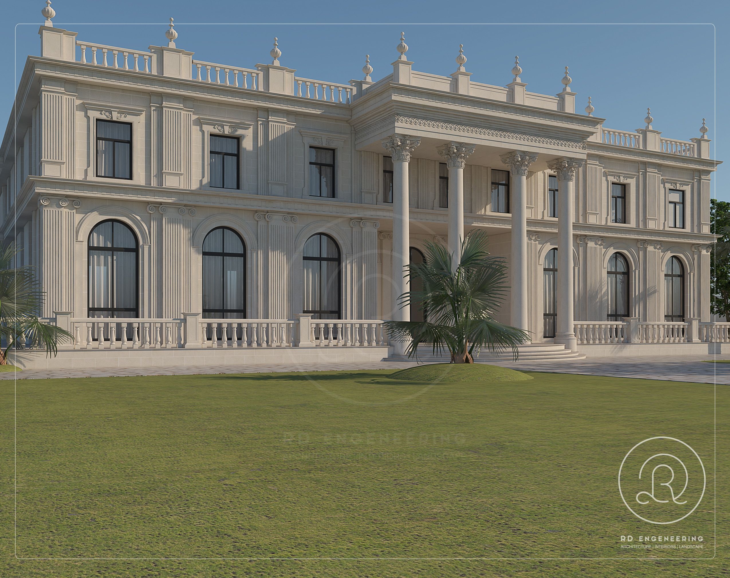 Classic Palace Design By Rde Qatar House Outside Design Classic House Design Luxury Exterior