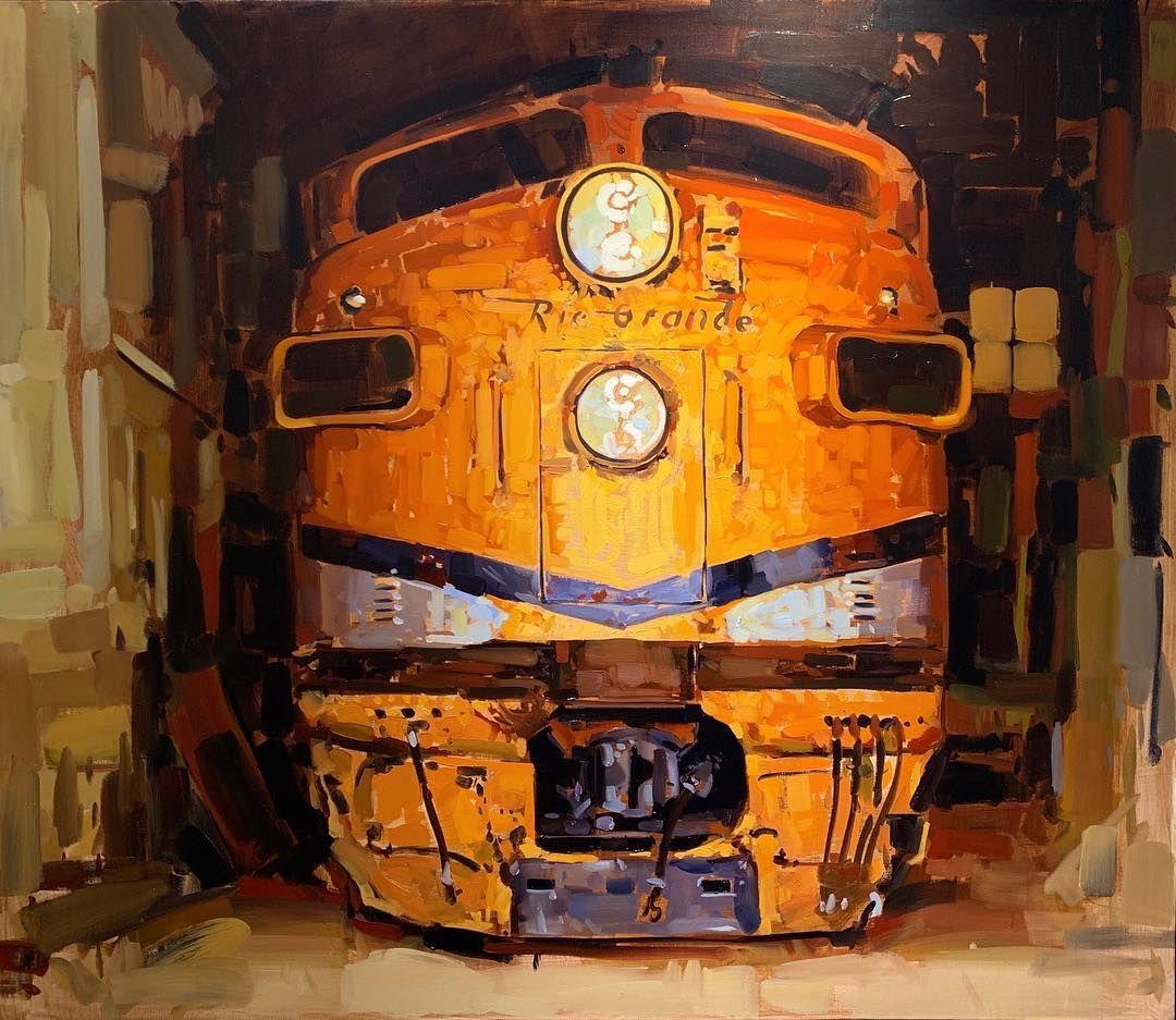 "SANTIAGO MICHALEK on Instagram: ""Orange You Don't Eat 41x48 New work @celebrationoffineart . . . . . #artdoesnthavetomatchthesofa #painting #orange #trains #riogrande…"""