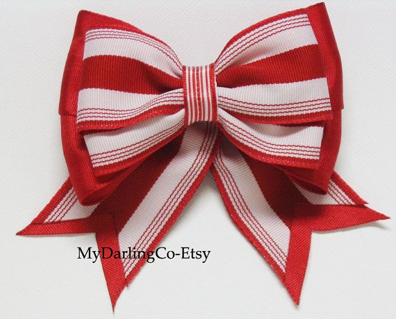 Girls Red Stripe Hair Bow from My Darling Company-Etsy.