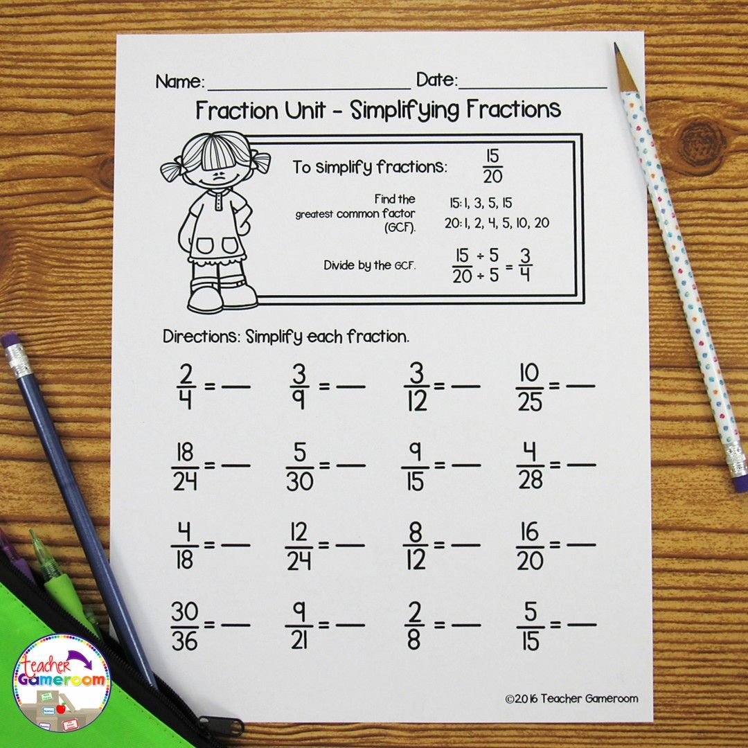 Can You Students Put Fractions In Simplest Form Find Out With This Simplest Form Worksheet Get Your In 2020 Unit Fractions Simplifying Fractions Fractions Worksheets