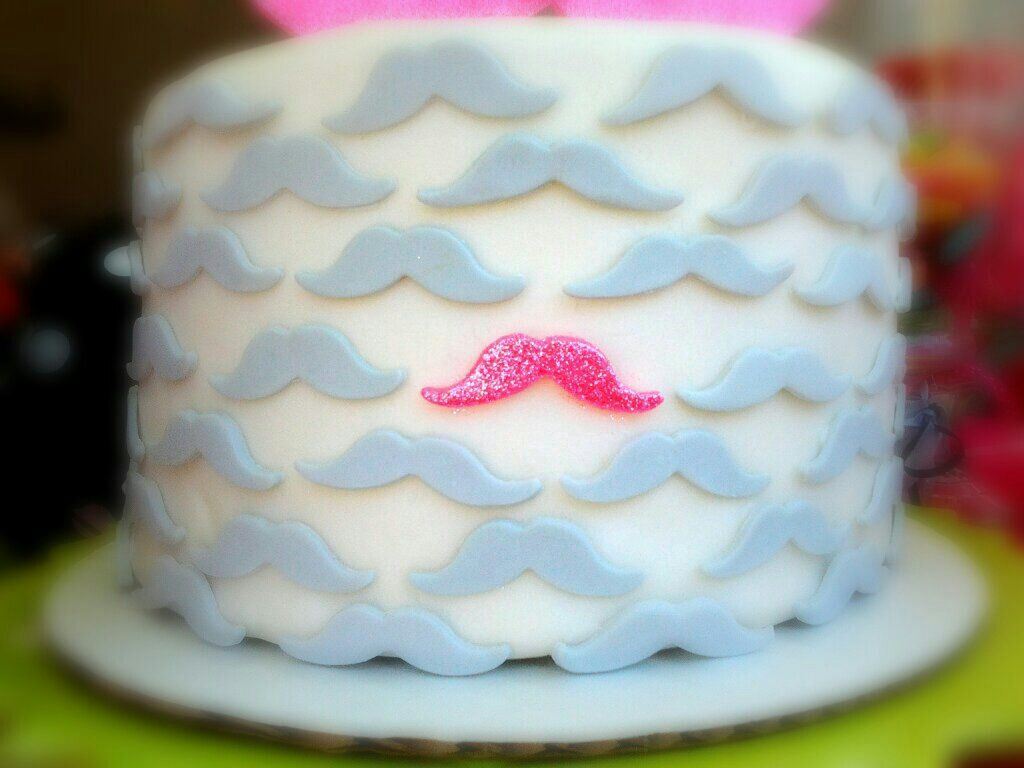 Girly grey and hot pink fondant mustache cake mustache party