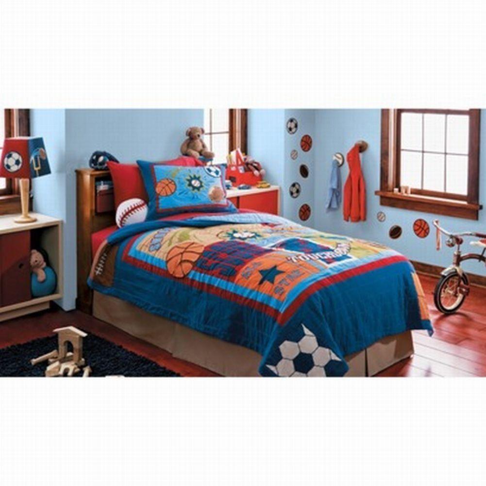 Twin Quilt Standard Pillow Sham Set Basketball Soccer Baseball Room ColorsPaint