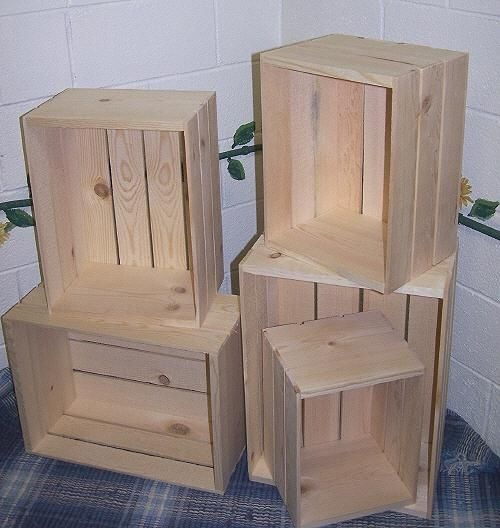 Wood Nesting Crates 5 Wood Crate Set Wooden Crates Wooden Crates Crate Storage Wood Crates