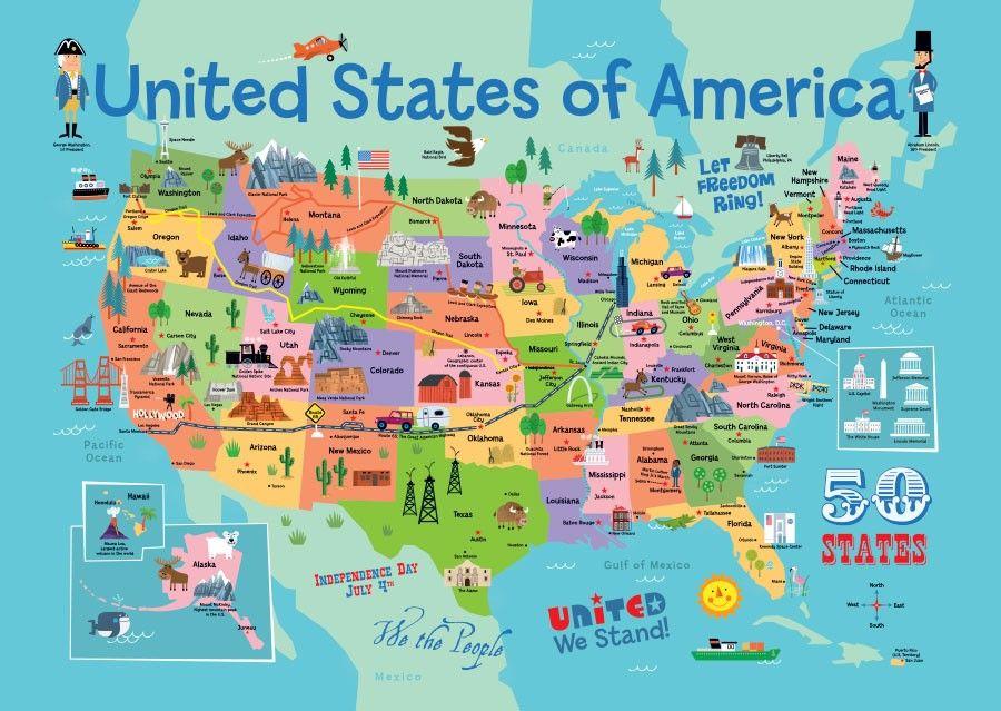 Usa Map Mural Wallpaper Cartes Illustrees Carte Etats Unis