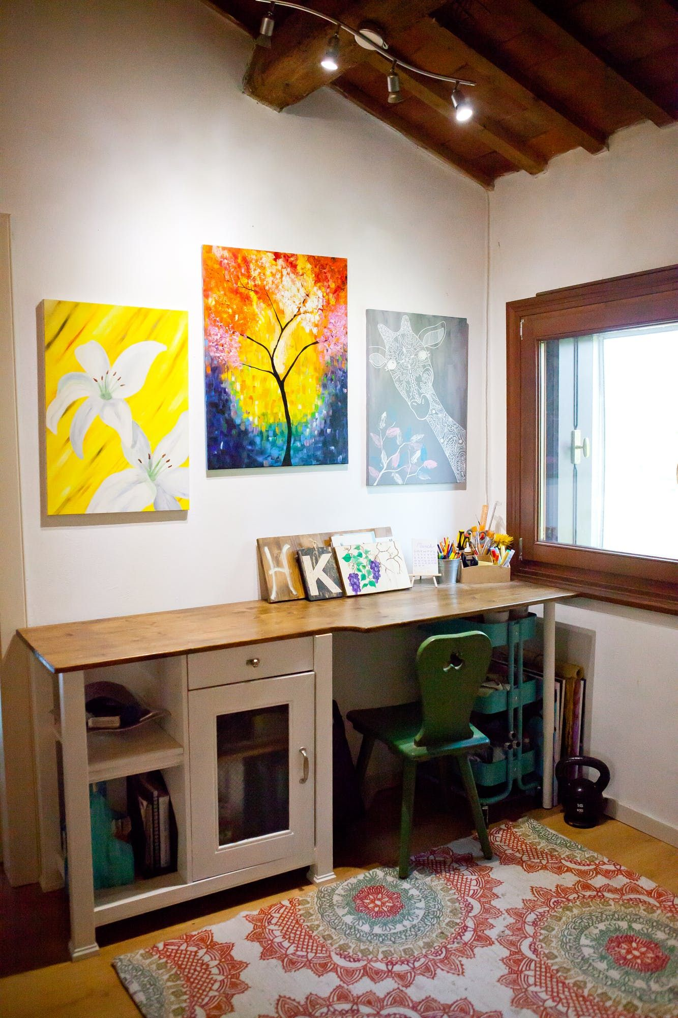 Kates workspace is set up in their upstairs living room area with plenty of natural light and diyd art of course whats a work space without a råskog