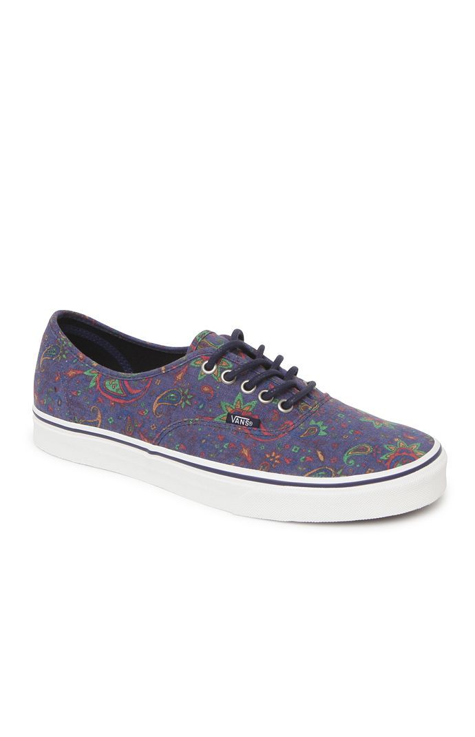 PacSun presents the VansAuthentic Shoes. These paisley print shoes come with a purple canvas upper and a Vans logo loop on the side.%09Paisley print canvas upper%09Low profile shoe, purple lace front%09Vans logo loop on the side%09Padded insole%09Man made rubber textured outsole%09Size 10 shown