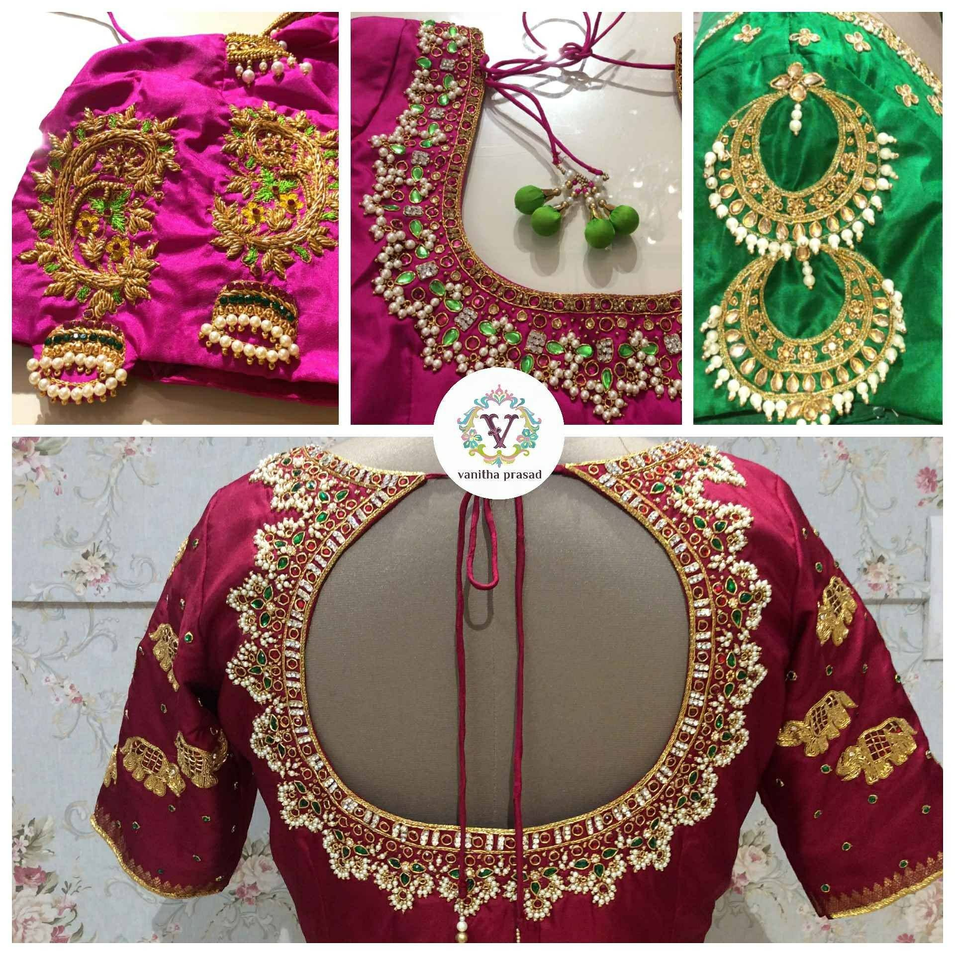 Ornate jewellery inspired hand embroidered blouse designs
