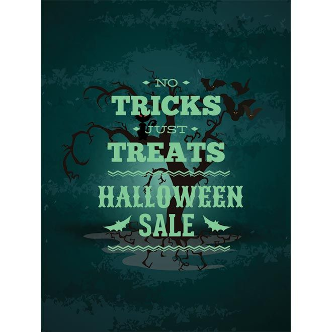 Vector Green Halloween sales poster template with bats sitting on ...