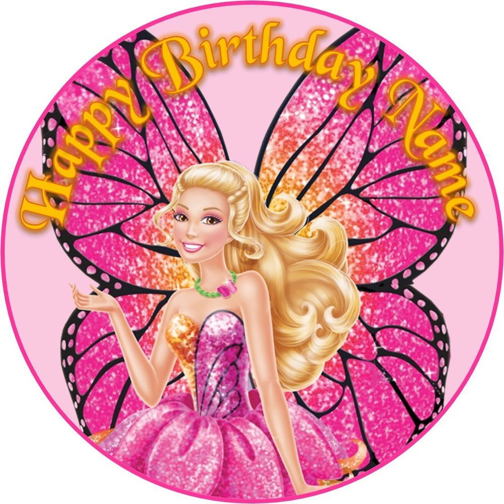 Super Edible Barbie Butterfly Fairy Mariposa Cake Topper Wafer Paper 7 5 Personalised Birthday Cards Beptaeletsinfo