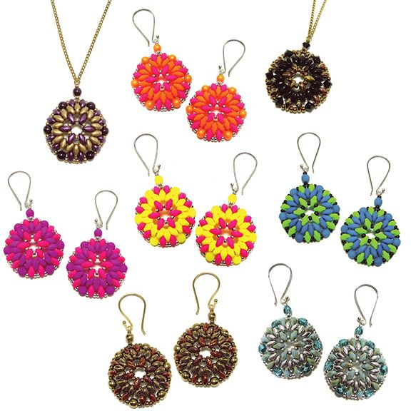 Free Pattern Bodacious Earrings And Pendant Using Superduo Beads