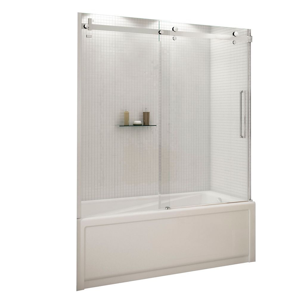 Halo 60 Inch Frameless Glass Sliding Door For Tubs Sliding Door