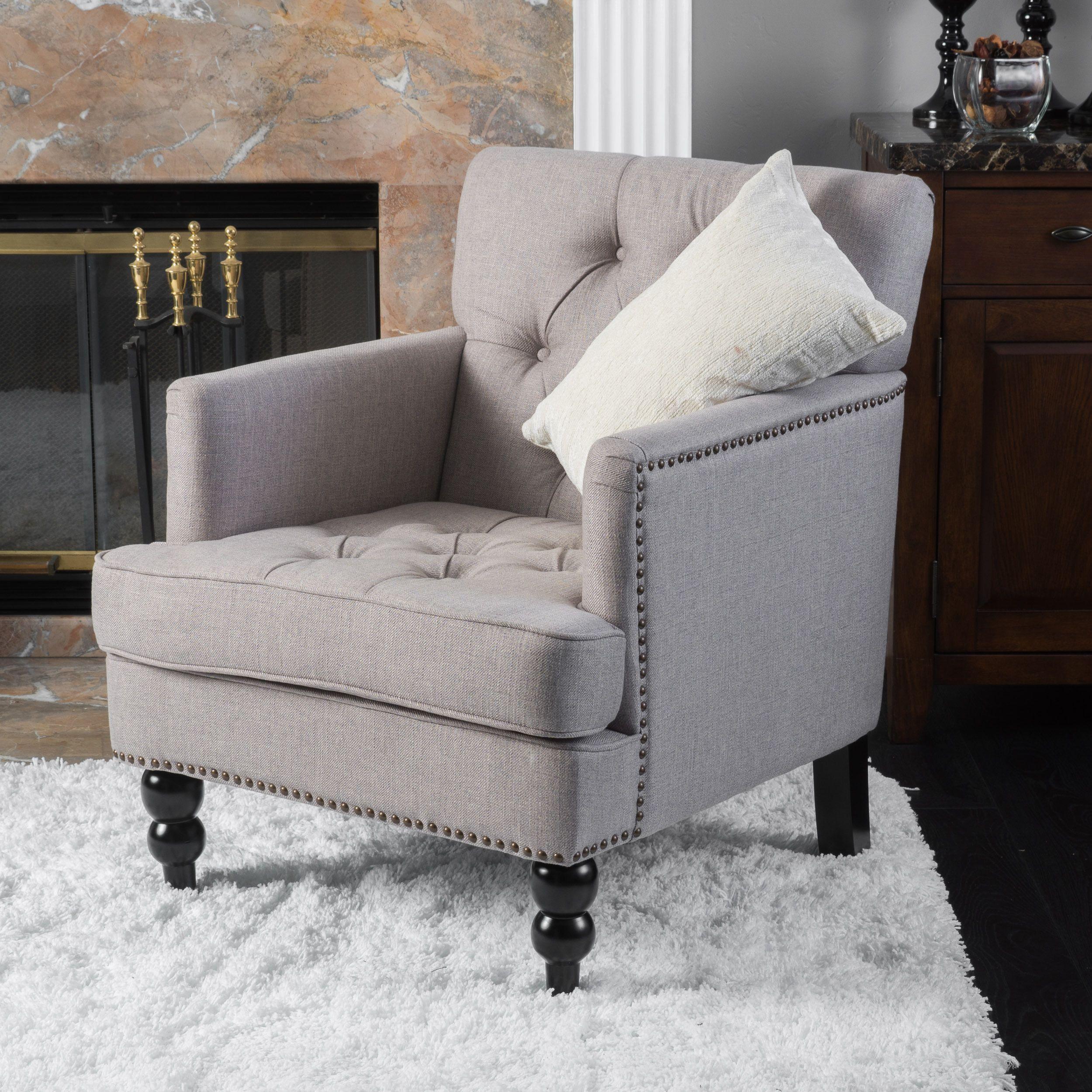 Cheap Sturdy Furniture: Pewter Fabric Club Chair, Grey