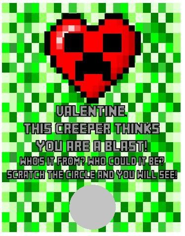 Personalized Minecraft Creeper Heart Valentines Day Cards Scratch