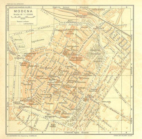 1916 Modena City Map Town Plan Street Plan Italy City maps