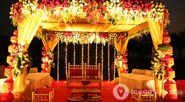 Wedding Stage Decoration With Flowers And Lights Google Search
