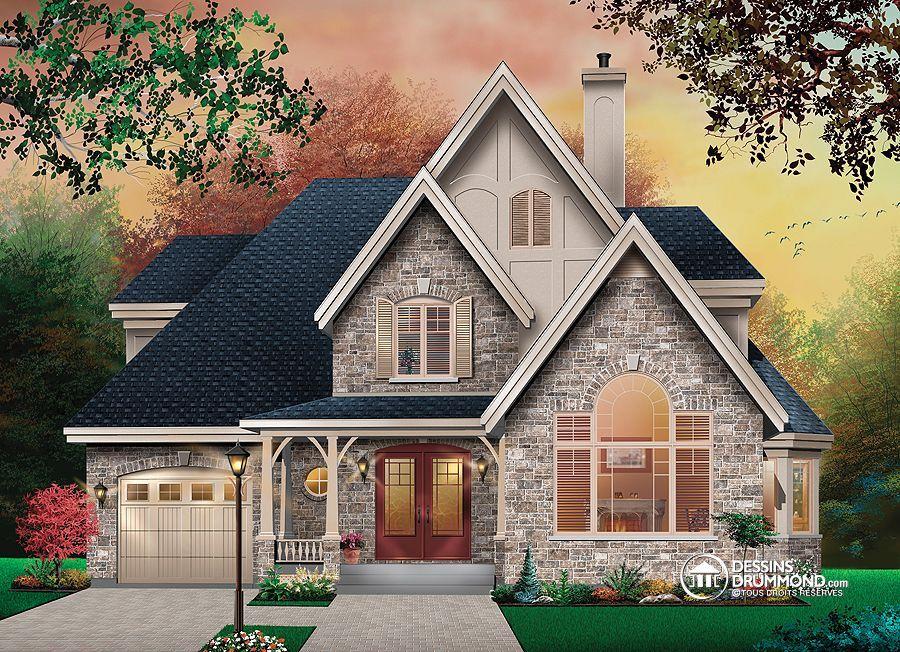 Plan de Maison unifamiliale W6828, manoir, européen, castle, house - dessiner une maison en 3d