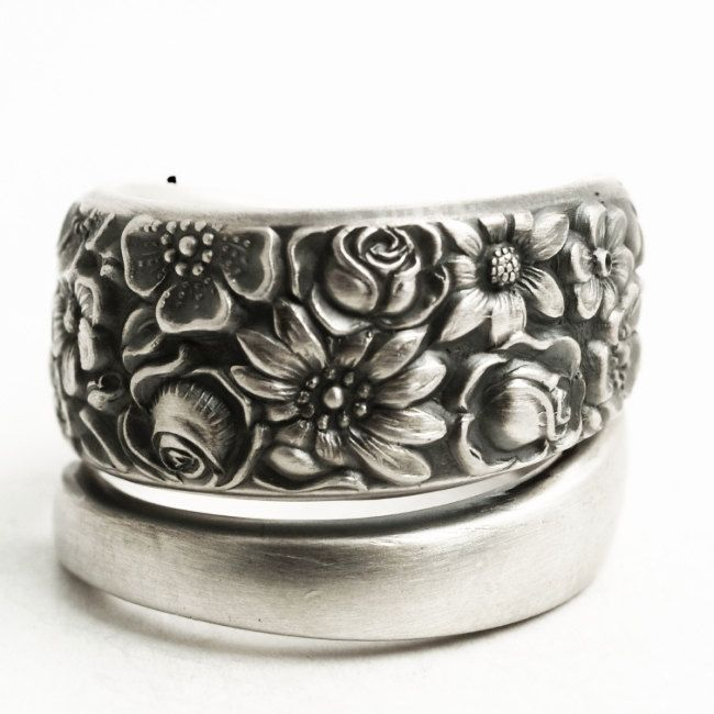 Vintage Towle Rose Garden Pattern 1965 Contessina Sterling Silver Spoon Ring Wild Flower Ring 5th A Sterling Silver Spoon Ring Wild Flower Ring Rose Jewelry