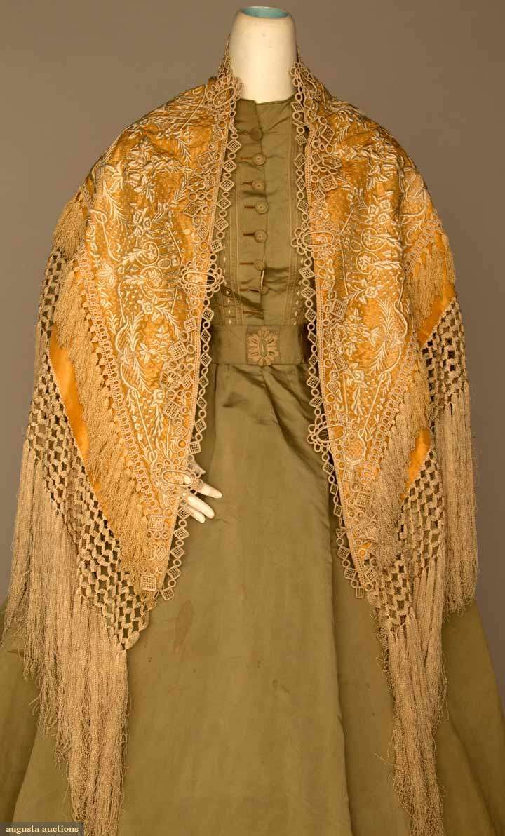 EMBROIDERED EVENING CAPE, c. 1880