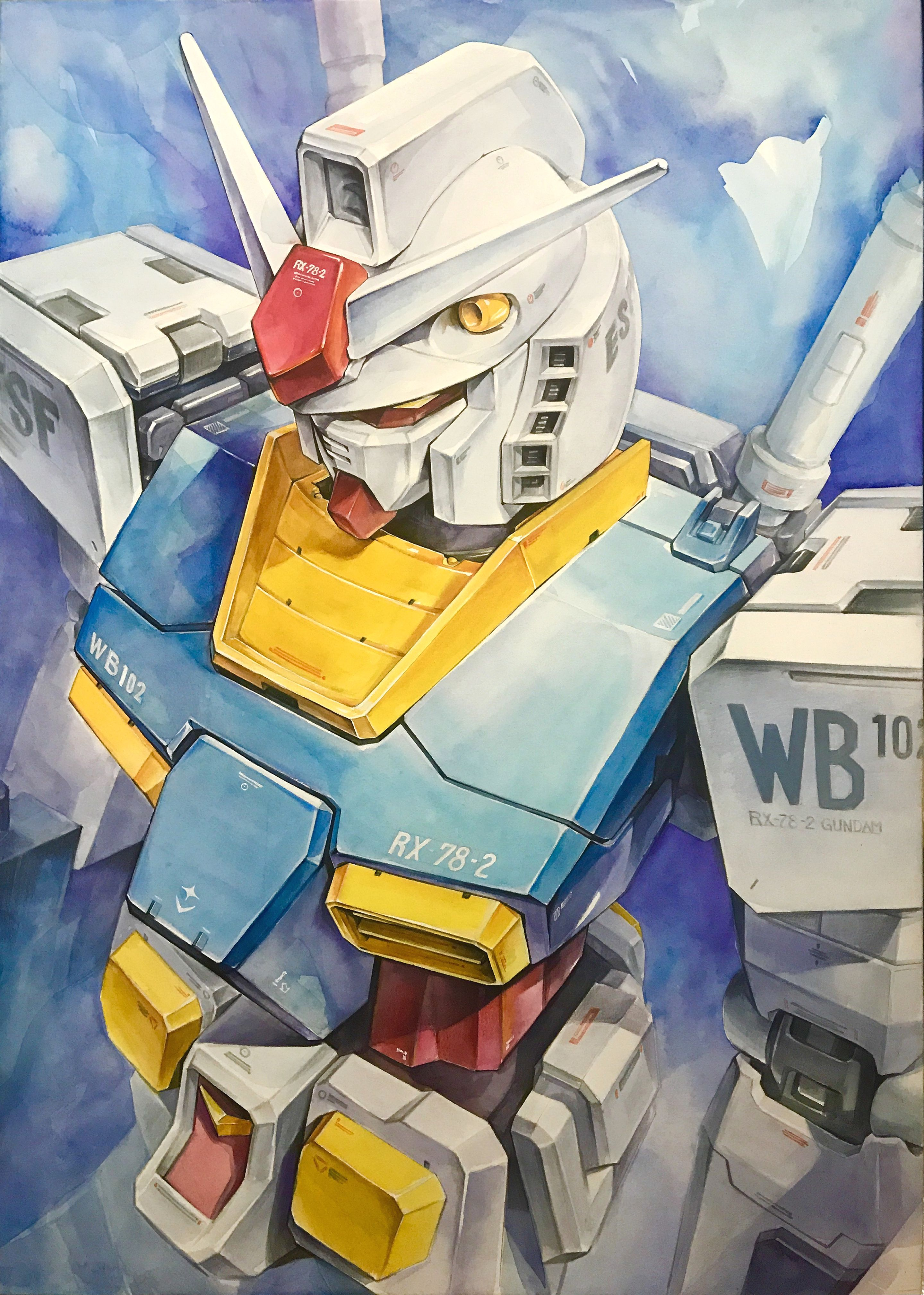 Rx78 Gundam Illust Watercolor Gundam Art Gundam Mobile Suit