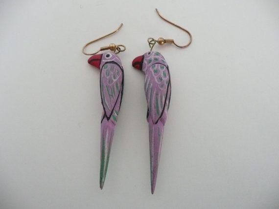 SALE Parrot Bird Earrings Purple Wood Dangle by eyeforaneyevintage