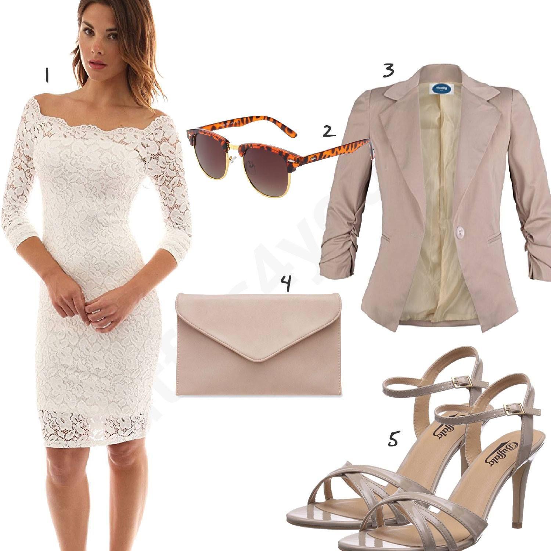 Outfit Mit Weißem Kleid Mit Spitze Und Blazer Outfits4you De Kleid Spitze Kleid Weiß Spitze Kleider