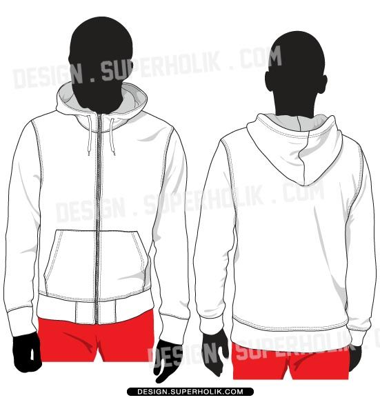 Zip-up hoodie vector template set $7.25 | Fashion Vector Templates ...
