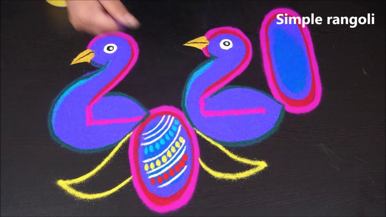 Simple Peacock Rangoli for happy new year 2020 Kolam