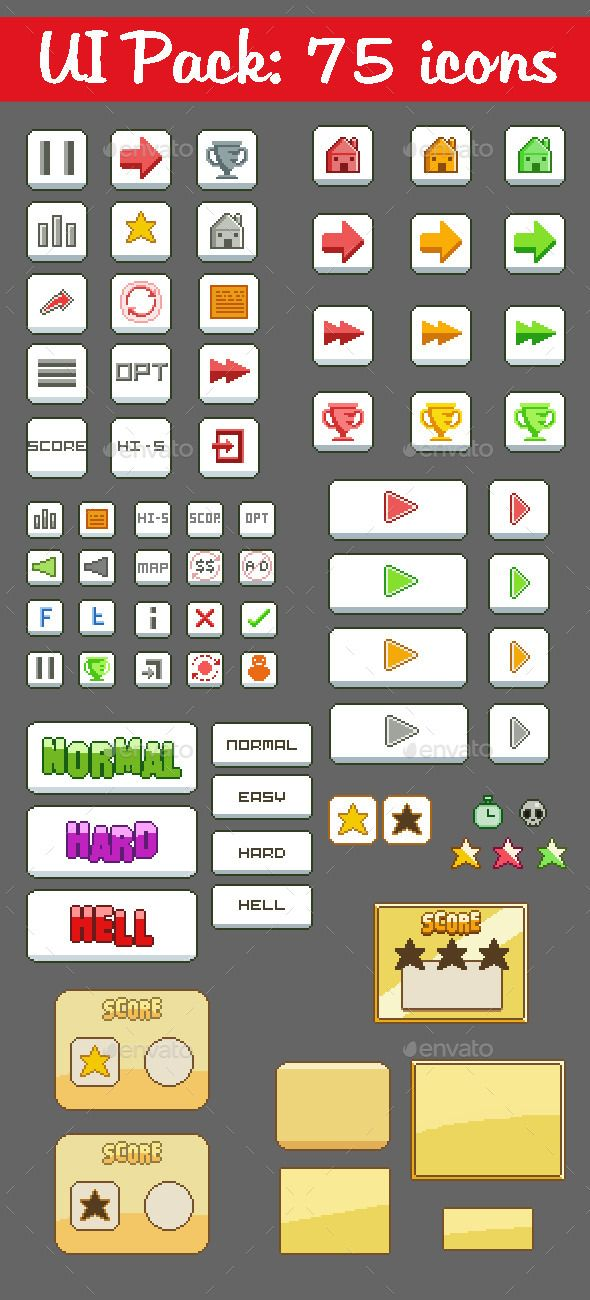 75 Pixel GUI Icons Pack Pixel, Icon pack