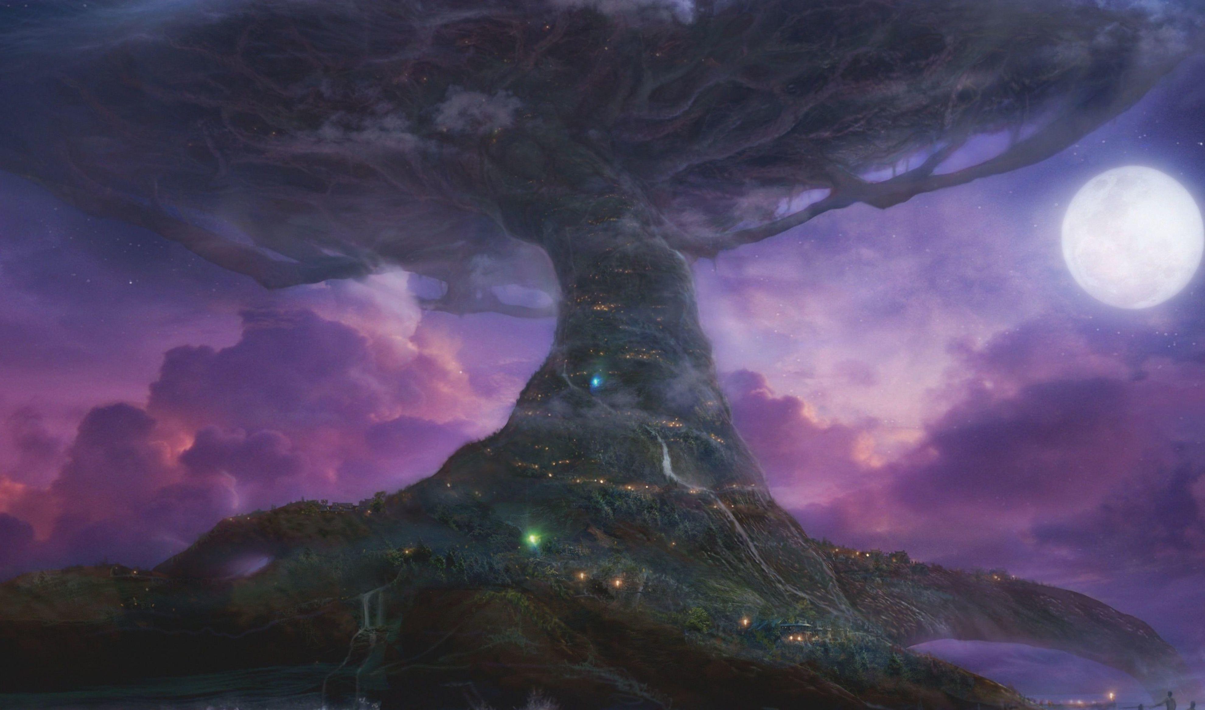 Tree Of Life Illustration Teldrassil World Of Warcraft World Tree Trees Moon Purple Darnassus V World Of Warcraft Wallpaper Warcraft Art Fantasy Landscape
