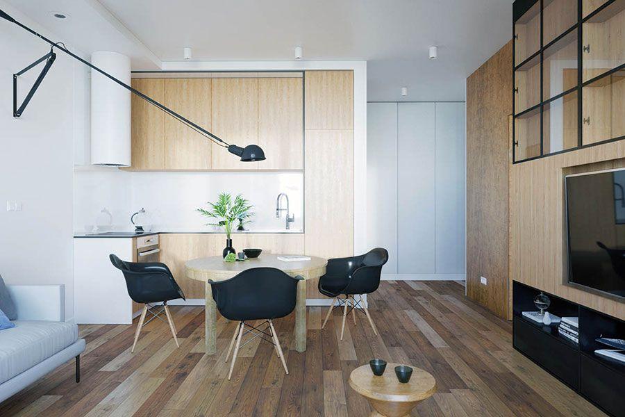 """Questa zona giorno non è facile da arredare perché, pur essendo grande, è """"attraversata"""" da molti percorsi e ha poche pareti libere; Come Arredare Un Open Space Di 20 30 Mq Mondodesign It Idee Di Interior Design Soggiorno Arredamento Design Appartamenti"""