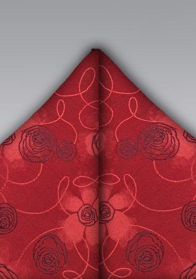 Kavaliertuch Rot Rosen Dessin Tuch Rosendekor Einstecktuch