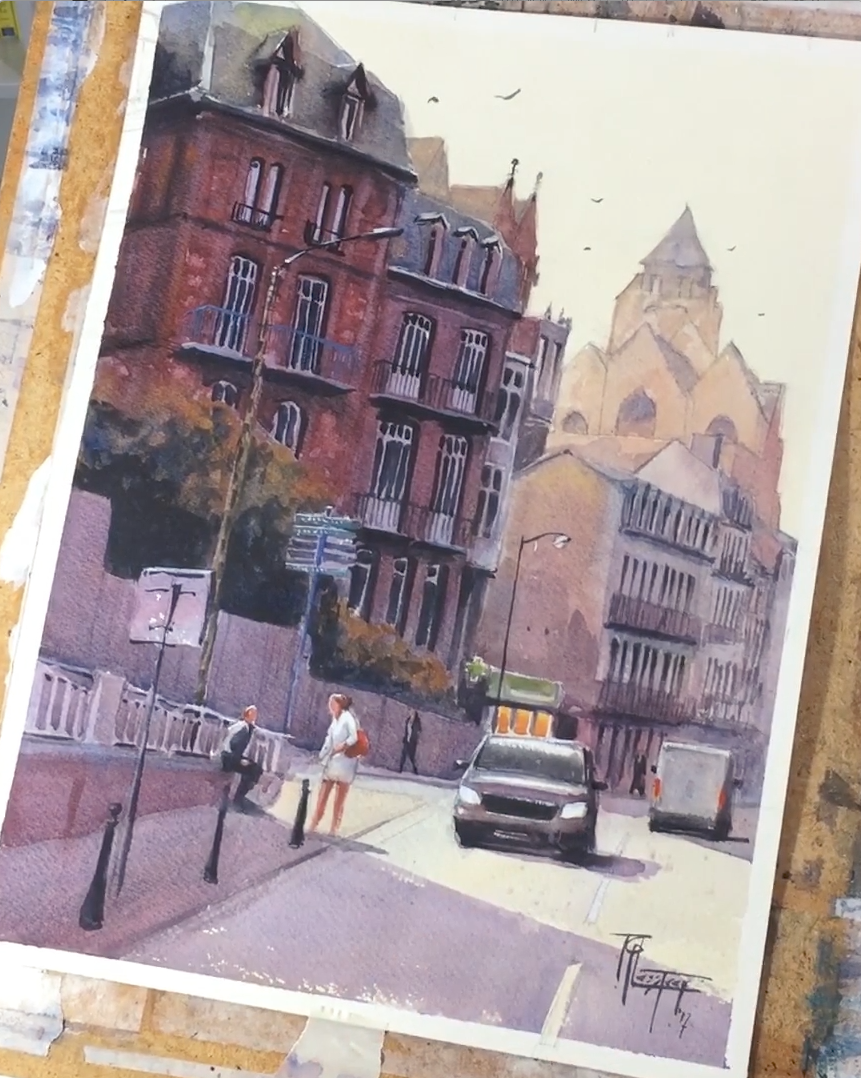 Watercolor demonstration of a townscape
