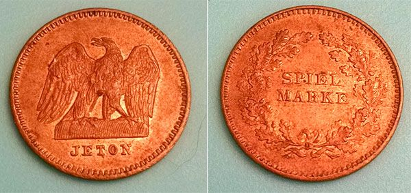 """1850's German Spiel Marke (or, """"play money""""). This one features an eagle w/ Jeton on the obverse, with """"Spiel Marke"""" and a wreath on the reverse. Pretty cool old gaming token!"""