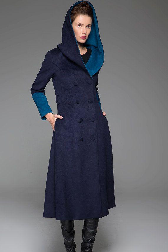 c7f2295a7 Blue coat, wool coat, modern clothing, hooded coat, maxi coat, long ...