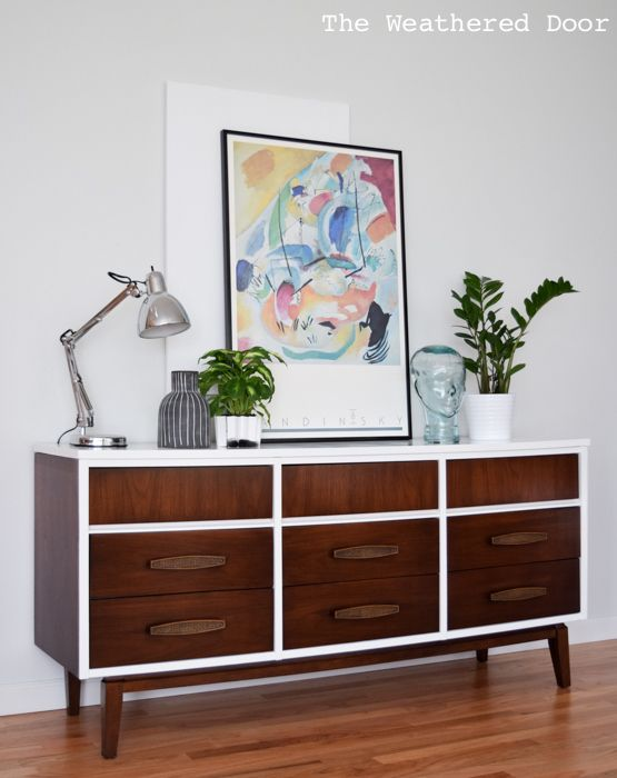 Mid Century 9 Drawer Dresser In Gloss White And Dark Wood The Weathered Door