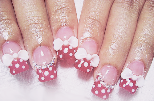 Acrylic Nail Designs With 3d Bowsdaily Nail Art Polka Dotted Bow Tie
