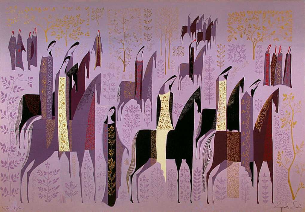 Eyvind Earle(1916ー2000 USA)「Medieval Promenade」(1983)
