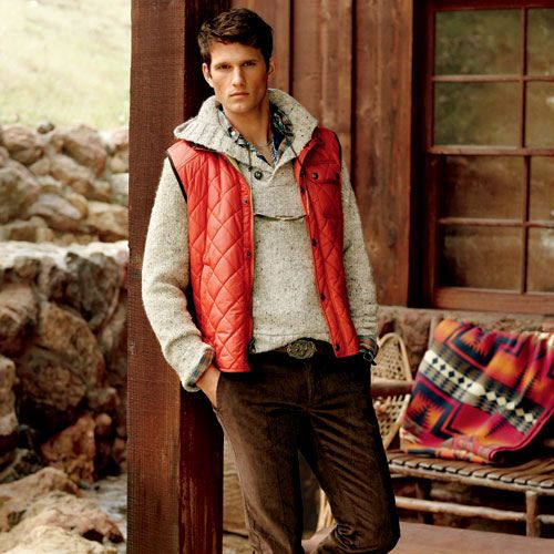 Men's Red Gilet, Beige Cowl-neck Sweater, Multi colored Plaid Long ...