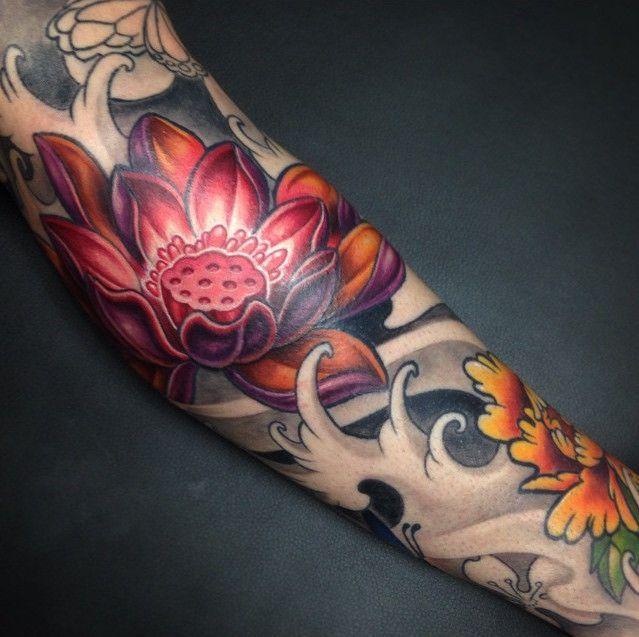 Amazing Japanese Tattoo Design With Lotus Tattoo Design In Hand
