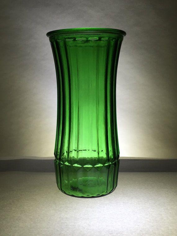 Emerald Green Vase Ribbed Hoosier 4089 C Glass Pinterest