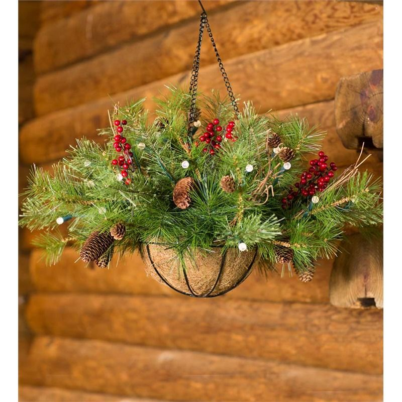 Lighted Outdoor BatteryOperated Holiday Hanging Basket