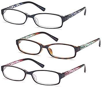 fe1764bdc42d GAMMA RAY Readers 3 Pack of Thin and Elegant Womens Reading Glasses with  Beautiful Patterns for Ladies