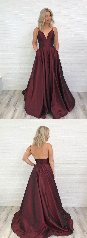 Spaghetti straps vneck long satin burgundy prom dresses for formal