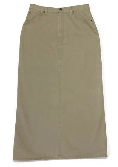 Liz Claiborne Modest Skirt Maxi Straight 10P Khaki High Waist Mom 29W 36L