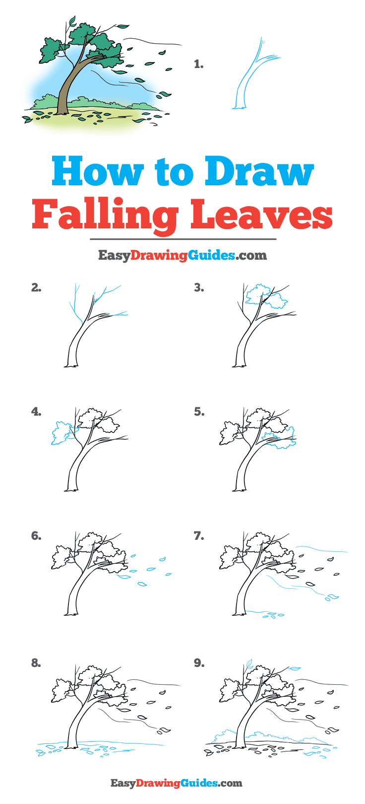 How to Draw Falling Leaves #autumnscenery